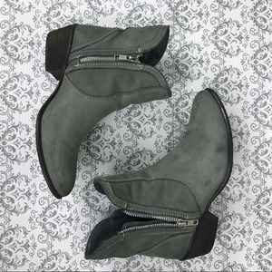 Zipstr Ankle Bootie Size 6.5 Grey Moto Boots